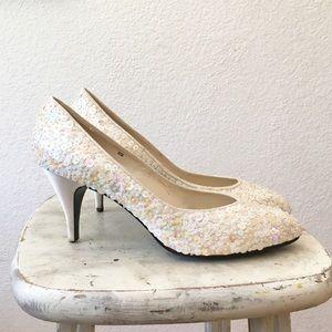 80s White Sequin Beaded Pumps High Heel Bridal